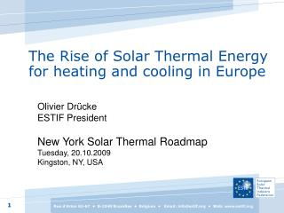 The Rise of Solar Thermal Energy for heating and cooling in Europe