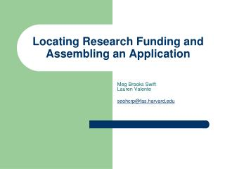 Locating Research Funding and Assembling an Application