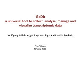 GxDb a universal tool to collect,  analyse , manage and visualize  transcriptomic  data
