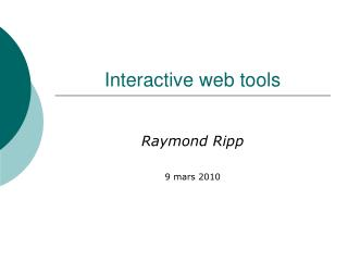 Interactive web tools