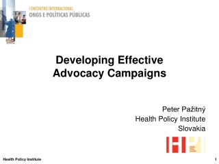 Developing Effective  Advocacy Campaigns