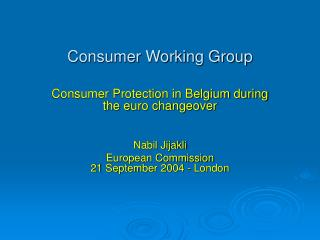 Consumer Working Group