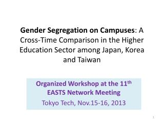 Organized Workshop at the 11 th  EASTS Network Meeting Tokyo Tech, Nov.15-16, 2013