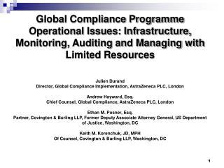 Key Elements of an Effective Compliance Programme: an Evolving Global Standard