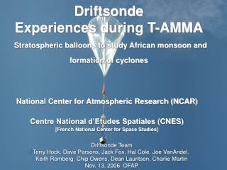 National Center for Atmospheric Research (NCAR) Centre National d'Etudes Spatiales (CNES)