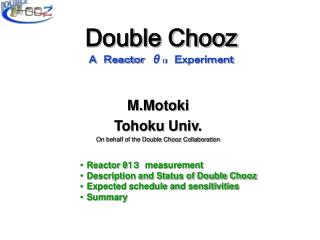 Double Chooz  A Reactor  θ 13  Experiment