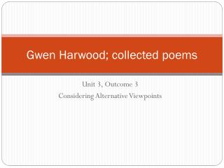 Gwen Harwood; collected poems