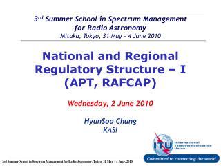 National and Regional Regulatory Structure – I (APT, RAFCAP)