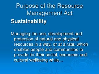 Purpose of the Resource Management Act