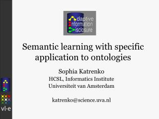 Semantic learning with specific    application to ontologies