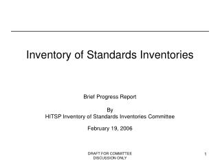 Inventory of Standards Inventories