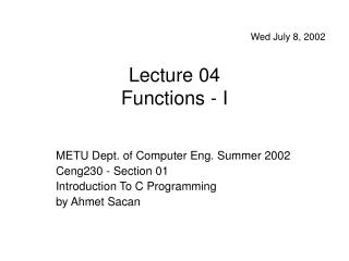 Lecture 04 Functions - I