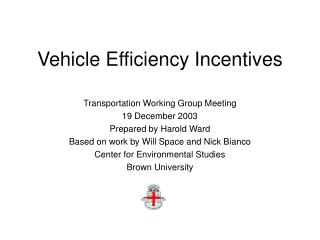 Vehicle Efficiency Incentives