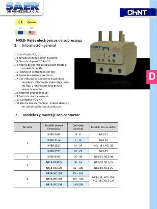 NRE8- Relés electrónicos de sobrecarga