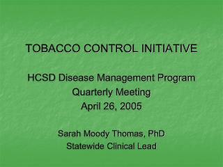 TOBACCO CONTROL INITIATIVE