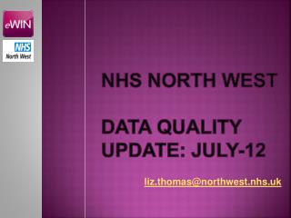 NHS North west data quality update: july-12