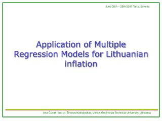 Application of Multiple Regression Models for Lithuanian inflation