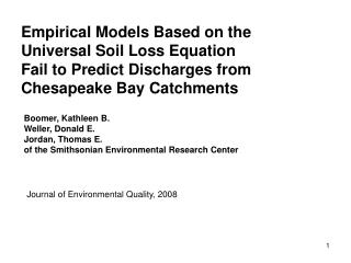 Empirical Models Based on the  Universal Soil Loss Equation