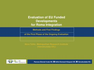 Evaluation of EU Funded Developments  for Roma Integration