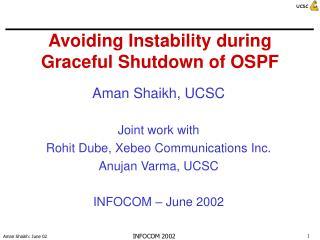 Avoiding Instability during Graceful Shutdown of OSPF