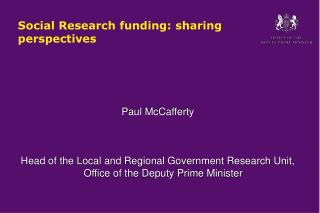 Social Research funding: sharing perspectives