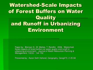 Watershed-Scale Impacts of Forest Buffers on Water Quality and Runoff in Urbanizing Environment