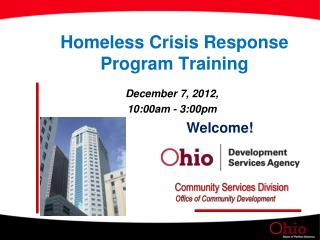 Homeless Crisis Response Program Training