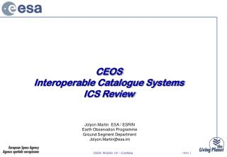 CEOS Interoperable Catalogue Systems  ICS Review