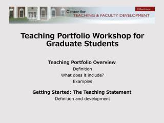 Teaching Portfolio Workshop for Graduate Students