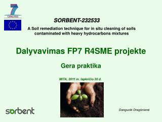 Dalyvavimas FP7 R4SME projekte