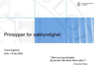 Prinsipper for sakkyndighet