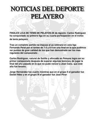 NOTICIAS DEL DEPORTE PELAYERO