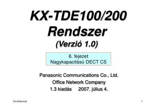Panasonic Communications Co., Ltd. Office Network Company 1.3  kiadás      2007 . július 4.