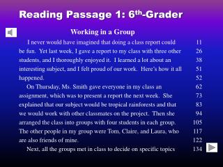 Reading Passage 1: 6th-Grader