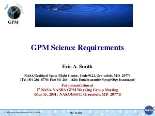 1.  HQ Level 1 Science Requirements high level document -- Jun/2001 time frame