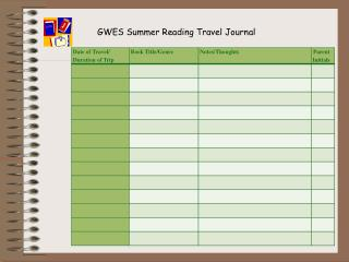 GWES Summer Reading Travel Journal