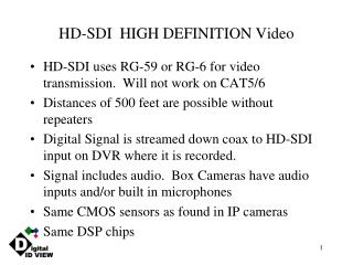 HD-SDI  HIGH DEFINITION Video