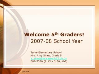Welcome 5th Graders