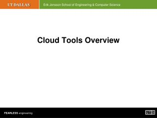 Cloud Tools Overview
