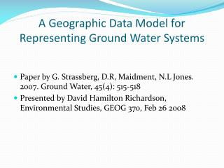 A Geographic Data Model for Representing Ground Water Systems