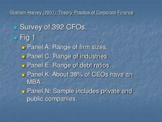 Graham-Harvey 2001: Theory-Practice of Corporate Finance