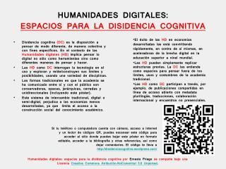 HUMANIDADES DIGITALES:  ESPACIOS PARA LA DISIDENCIA COGNITIVA