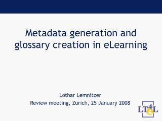 Metadata generation and glossary creation in eLearning