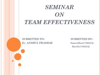 SEMINAR   ON  TEAM EFFECTIVENESS SUBMITTED TO:-                                    SUBMITTED BY:-