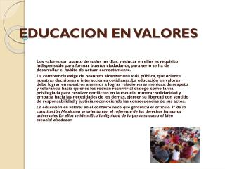 EDUCACION EN VALORES