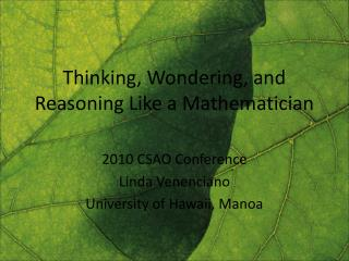 Thinking, Wondering, and Reasoning Like a Mathematician
