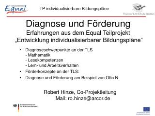 Diagnoseschwerpunkte an der TLS - Mathematik - Lesekompetenzen - Lern- und Arbeitsverhalten