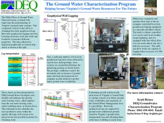 The Ground Water Characterization Program