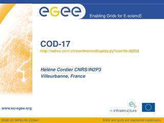 COD-17 indico.cern.ch/conferenceDisplay.py?confId=40252