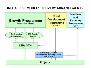 INITIAL CSF MODEL: DELIVERY ARRANGEMENTS